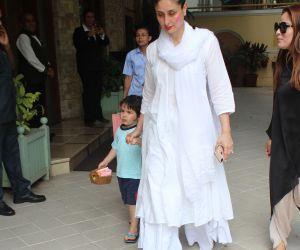 Actress Kareena Kapoor seen post Holi celebrations in bandra