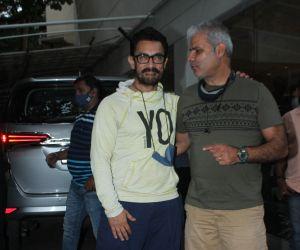 Aamir Khan join Koi Jaane Na Screening at sunny sound in Juhu