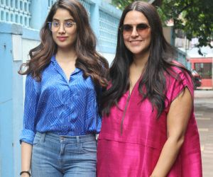Neha Dhupia spotted with Janvhi Kapoor before the recording of her show #NoFilterNeha4