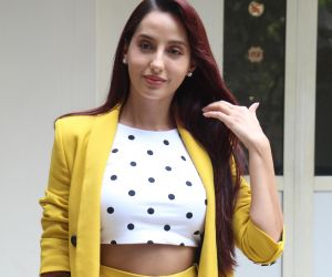 Nora Fatehi for the promotion of her song Saki Saki at T Series office in andheri