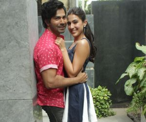 Varun Dhawan and Sara Ali Khan @ Promotion of film coolie no 1 at pooja films office in juhu