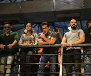 Salman Khan, Aayush Sharma and Saiee Manjrekar seen in Fitness Center at Goregaon.
