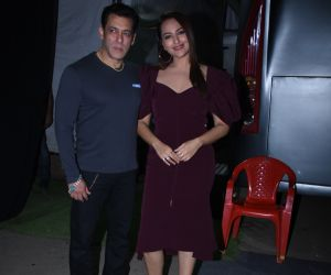 Actor Salman Khan and Sonakshi Sinha during successmeeet of film Dabangg3 at Mehboob Studio in bandra