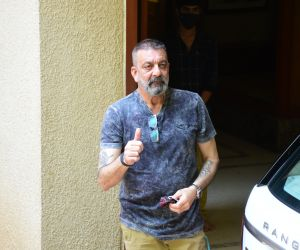 Sanjay Dutt spotted outside his home in bandra