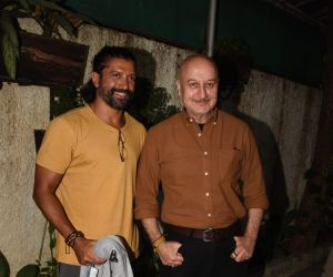 Farhan Akhtar and Anupam Kher join Screening Of Film Kaagaz At Sunny Super Sound Juhu