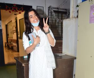 South actress Rashmika Mandanna at mukesh chhabra office