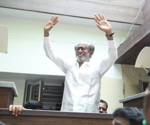 Superstar Rajnikanth meets the fans and media on diwali 2019