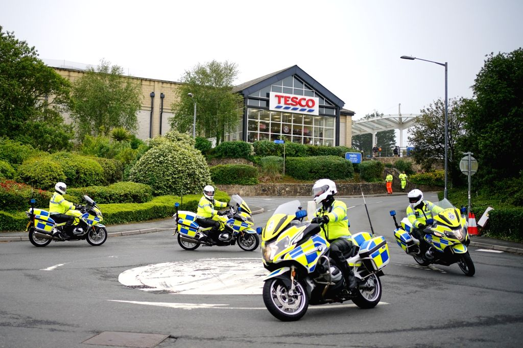 09 June 2021, United Kingdom, Carbis Bay: Police officers patrol on motorbikes in Carbis Bay, ahead of the G7 summit in Cornwall, which will be held from 11 to 13 June ( Photo: Aaron Chown/PA ...