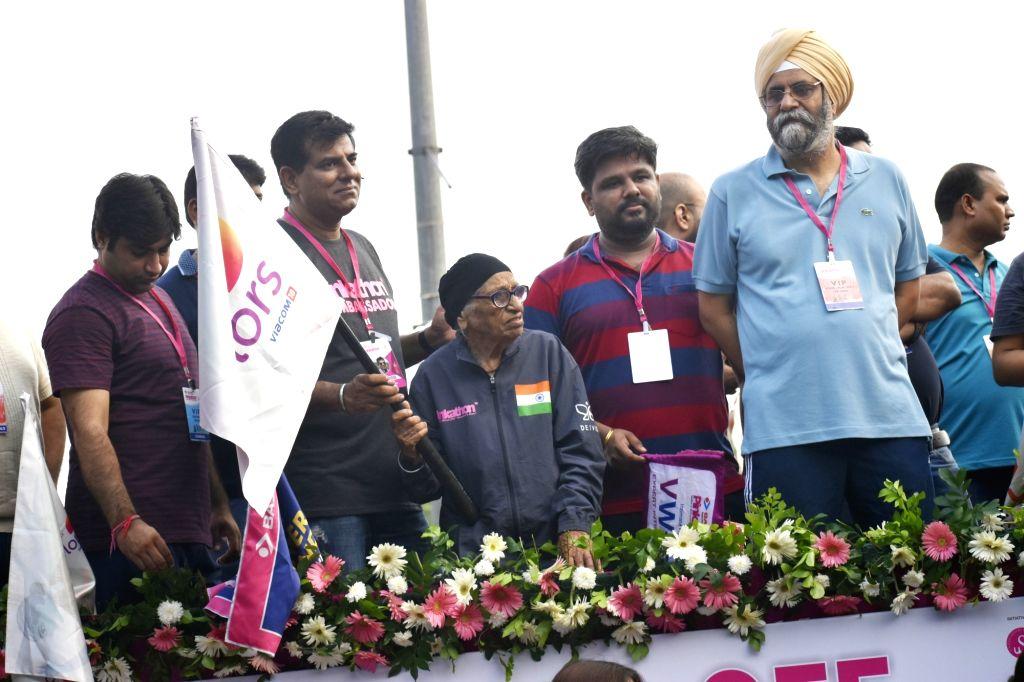 103yr old Woman athlete World Champion Man Kaur flags off the 7th edition of Pinkathon Delhi 2019 in New Delhi on Sep 8, 2019. - Champion Man Kaur