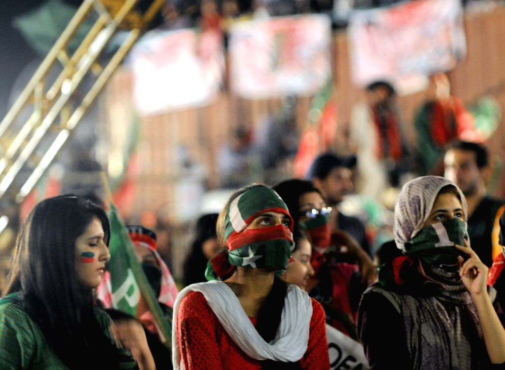 Supporters of opposition politician Imran Khan gathered during an anti-government protest in front of the Parliament in Islamabad, capital of Pakistan - Nawaz Sharif