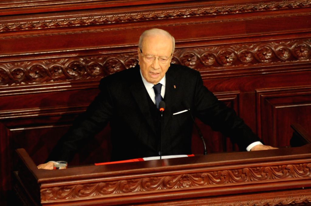 Tunisian President Beji Caid Essebsi speaks at the parliament in Tunis, capital of Tunisia, on Dec. 31, 2014. The newly elected Tunisian President Beji ...