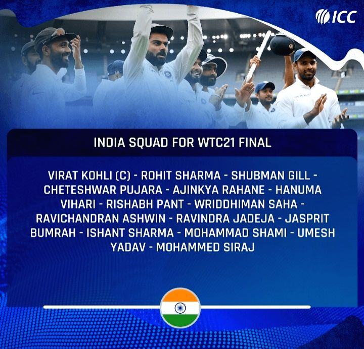 15 member Indian cricket team announced for WTC final ( Credit : icc/twitter )