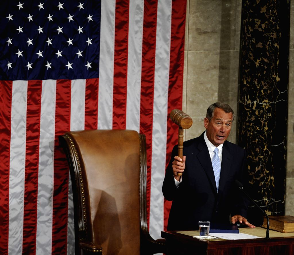 Speaker of the U.S. House of Representatives John Boehner attends the opening session of 114th Congress at Capitol Hill in Washington D.C., ...