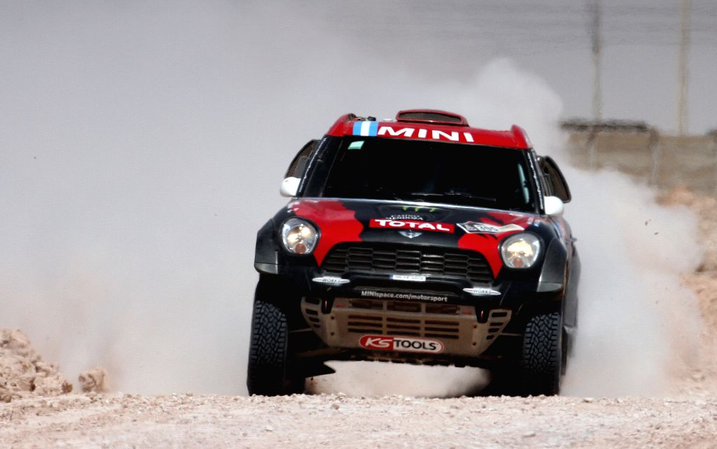 Stephane Peterhansel and Jean Paul Cottret of France race during the ninth stage of the Dakar Rally 2015, between the cities of Iquique and Calama, in ...