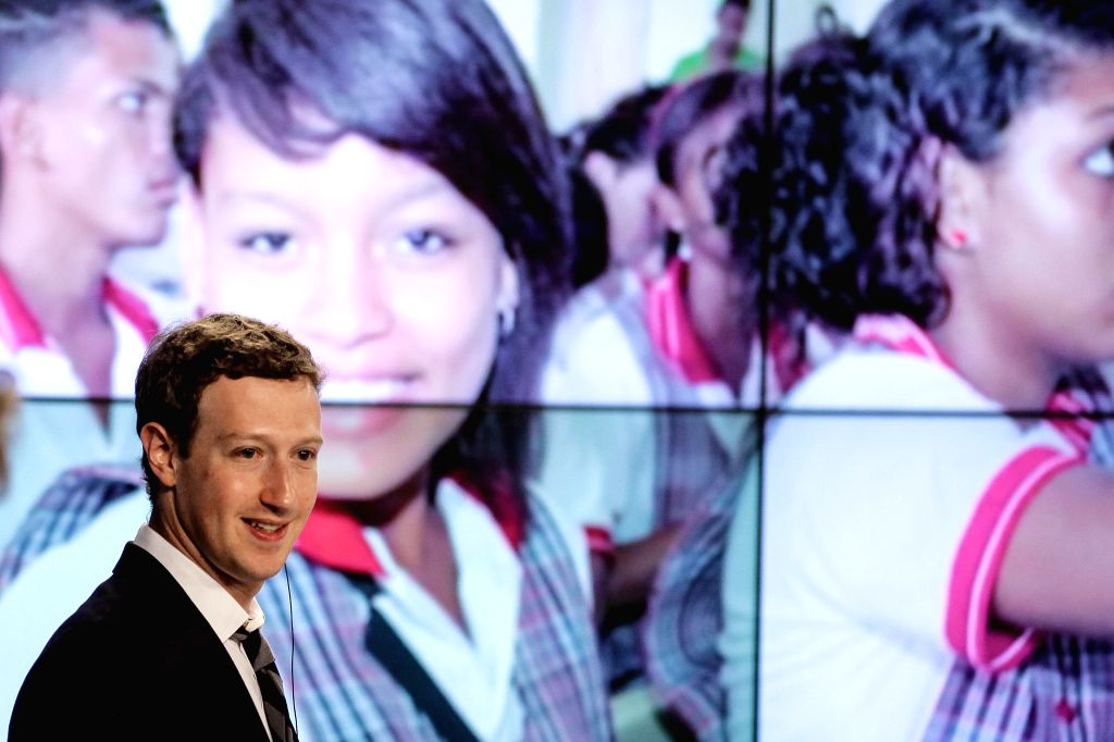 Facebook founder Mark Zuckerberg speaks at Narino House in Bogota, capital of Colombia, on Jan. 14, 2015. Colombian President Juan Manuel Santos ...