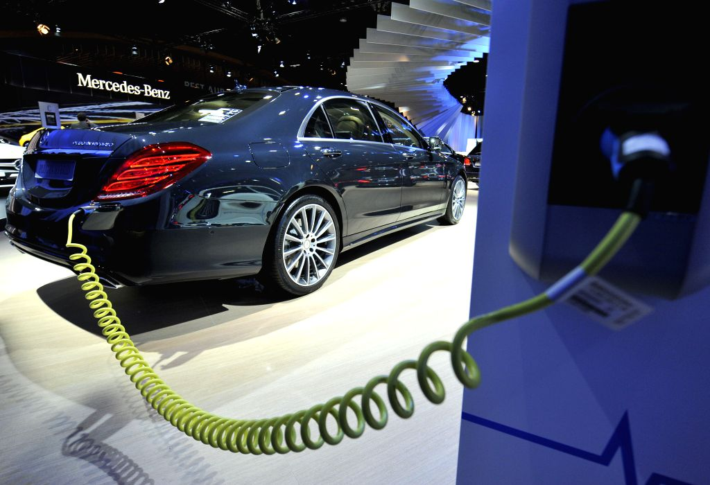A Mercedes-Benz S-class Plug-in Hybrid sedan is displayed on the press day at the Brussels Motor Show in Brussels, Belgium, Jan. 15, 2015. The Motor ...