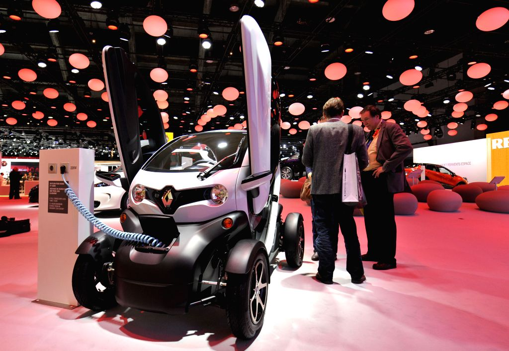 A Renault electric Twizy is displayed on the press day at the Brussels Motor Show in Brussels, Belgium, Jan. 15, 2015. The Motor show will run from ...