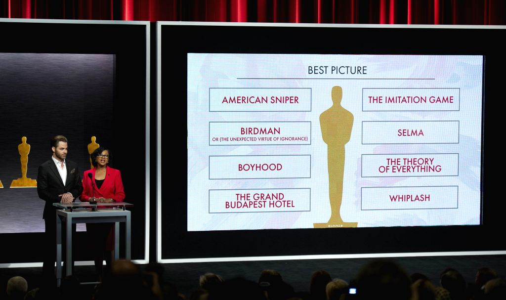 Actor Chris Pine (L) and Academy of Motion Picture Arts and Sciences President Cheryl Boone Isaacs (R) announce the nominees for Best Picture during - Chris Pine