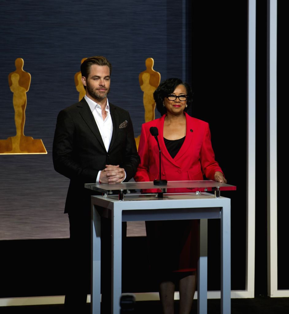 Actor Chris Pine (L) and Academy of Motion Picture Arts and Sciences President Cheryl Boone Isaacs (R) announce the nominees for major awards during - Chris Pine