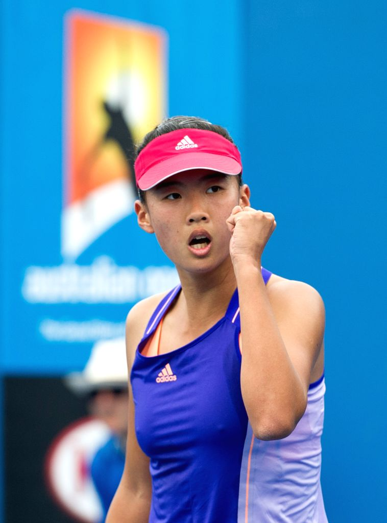 Liu Fangzhou of China reacts during the women's singles qualifying first round match against Patricia Mayr-Achleitner of Austria ahead of 2015 ...