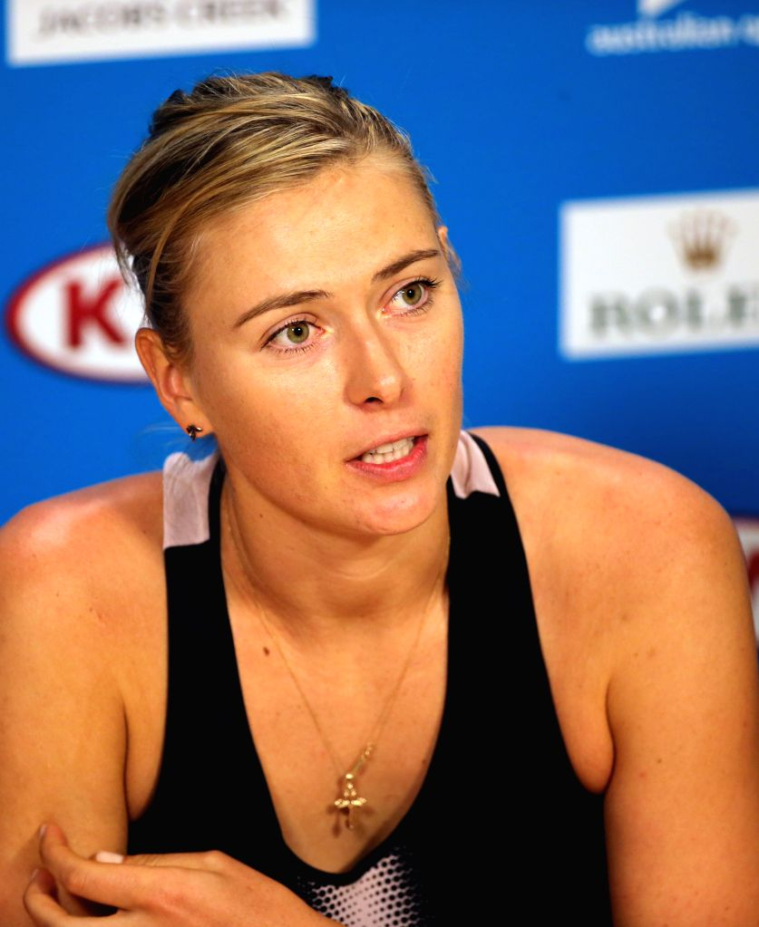 Maria Sharapova of Russia answers questions at a press conference after the second round match of women's singles against Alexandra Panova of Russia ..