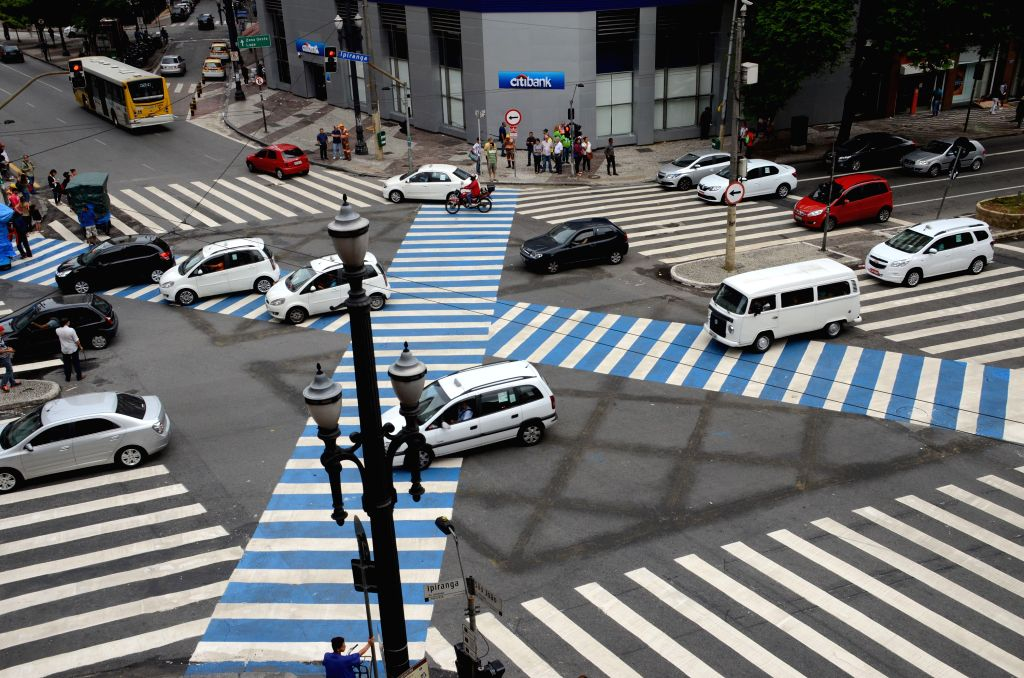 "Vehicles move over the pedestrian ""X"" crossing between Sao Joao and Ipiranga roads in downtown Sao Paulo, Brazil, Jan. 26, 2015. This type .."