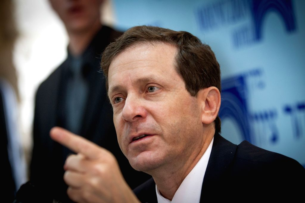 Isaac Herzog, head of Israel's centre-left Zionist Union coalition, attends a press conference at the Mt Zion hotel in Jerusalem, on Feb. 24, 2015. ...