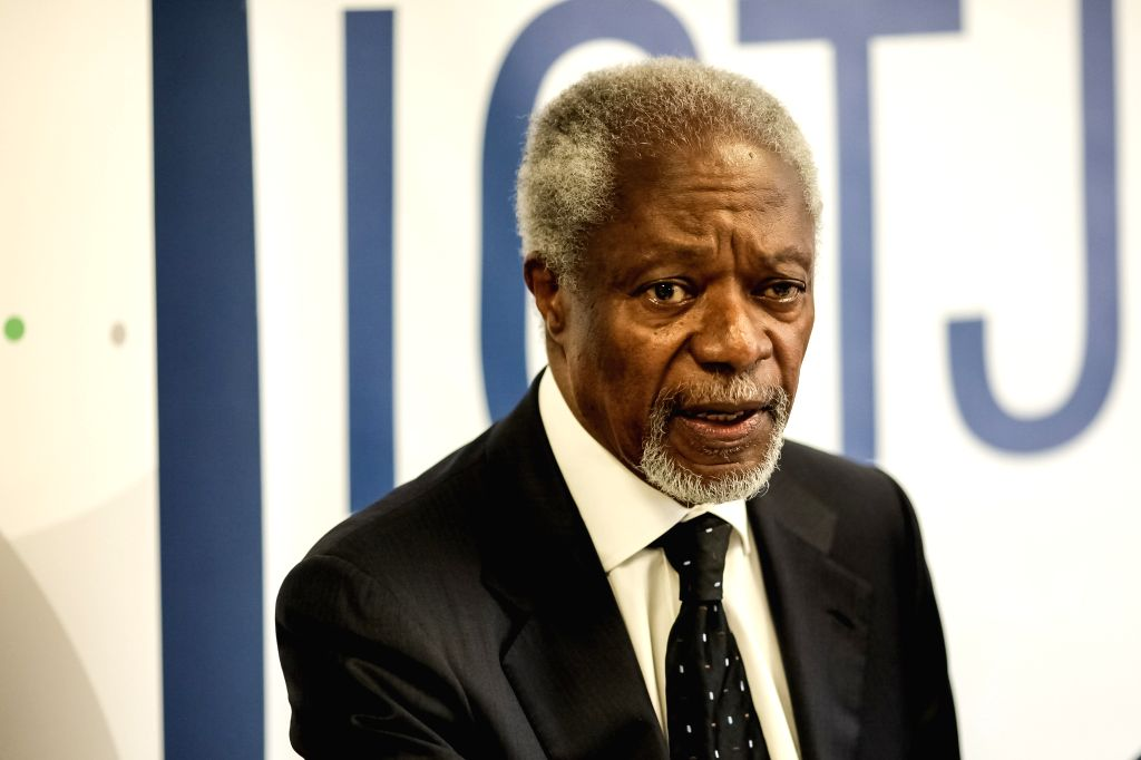 Former United Nations Secretary-General Kofi Annan attends a press conference during his visit in Bogota, Colombia, on Feb. 25, 2015. (Xinhua/Jhon Paz) ...