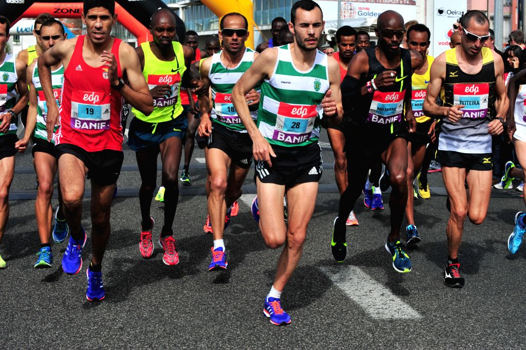 Athletes start in the 25th Lisbon Half Marathon race in Lisbon, Portugal on Mar. 22, 2015.
