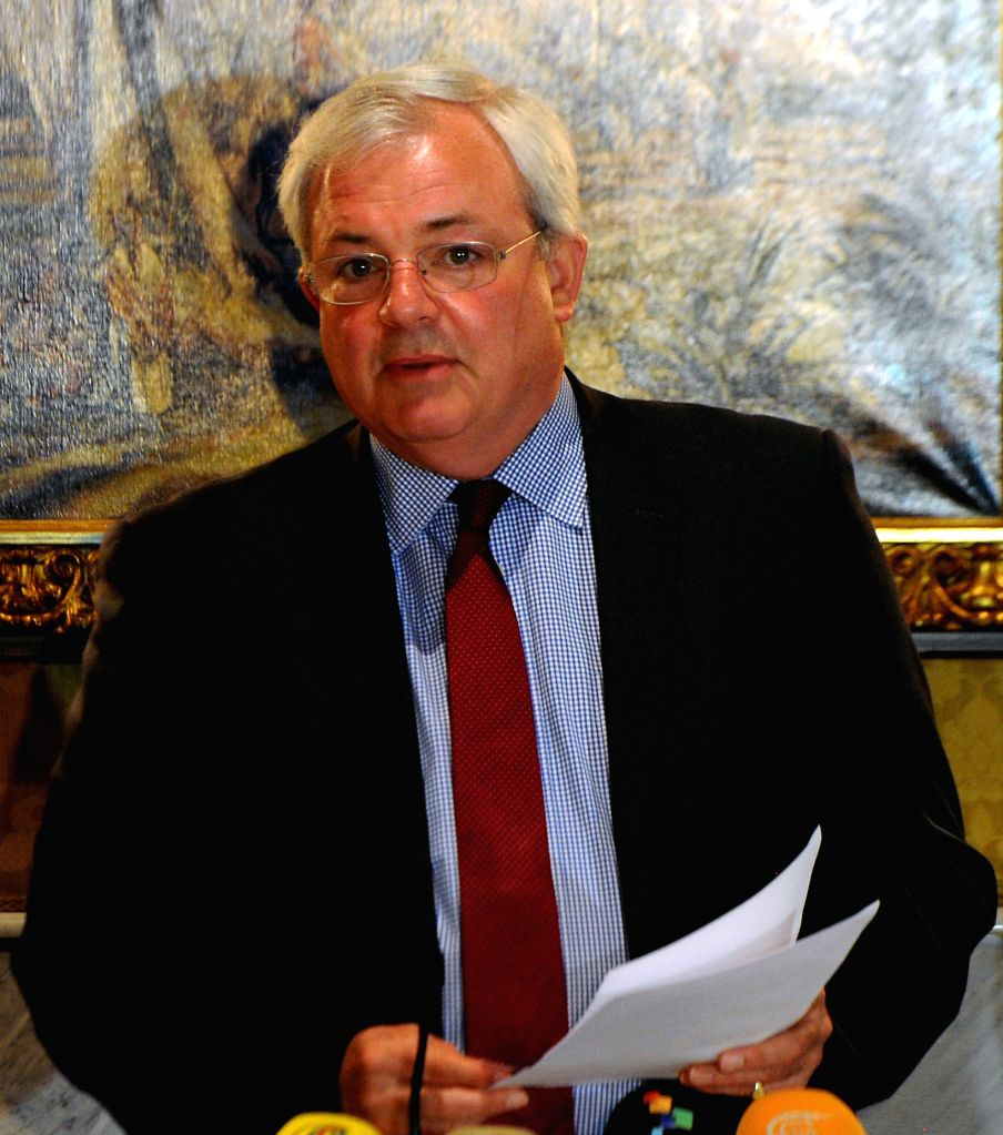 The UN under-secretary-general for humanitarian affairs Stephen O'Brien speaks during a press conference in Damascus, capital of Syria, on Aug. 17, ...