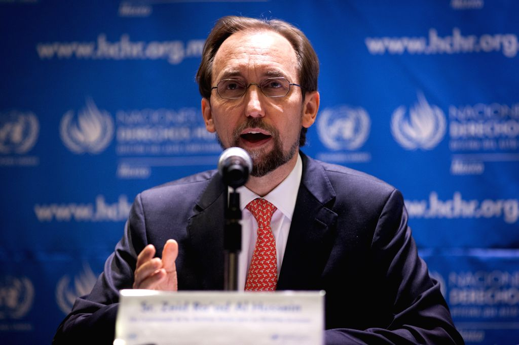 : (151008) --Zeid Ra'ad Al Hussein, United Nations (UN) High Commissioner for Human Rights, speaks at a press conference in Mexico City, capital of ...