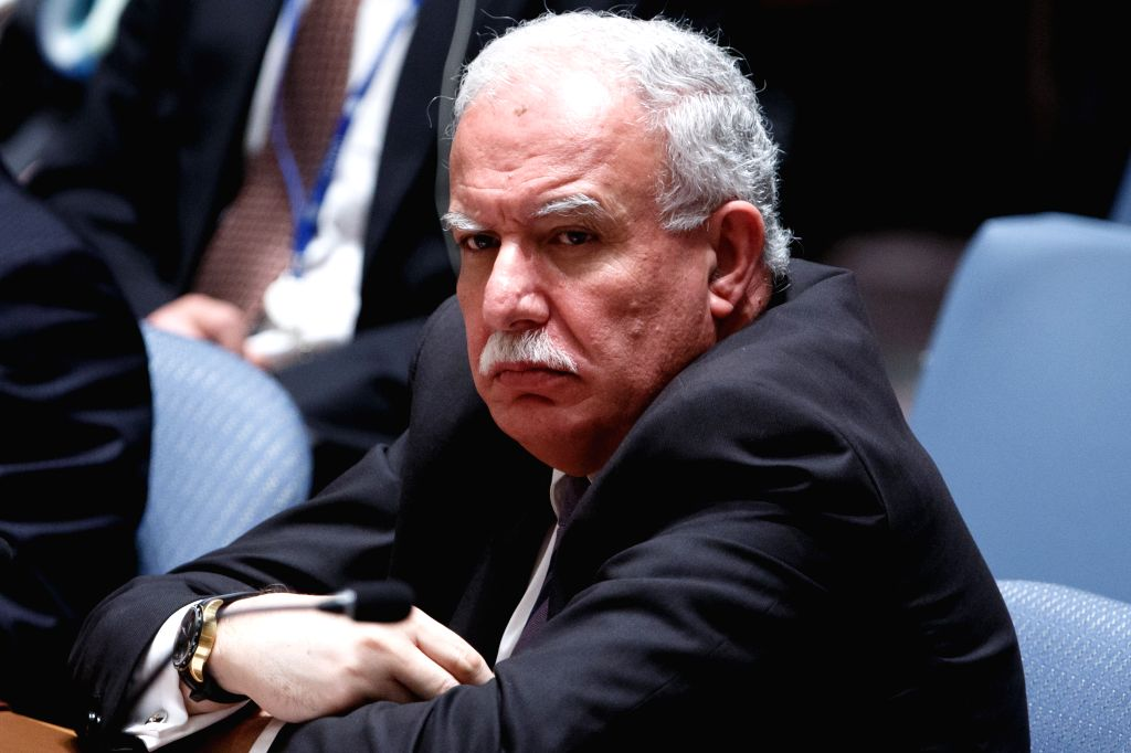 Riad Malki, minister of Foreign Affairs of the Observer State of Palestine, attends a United Nations Security Council meeting on the situation in the ...