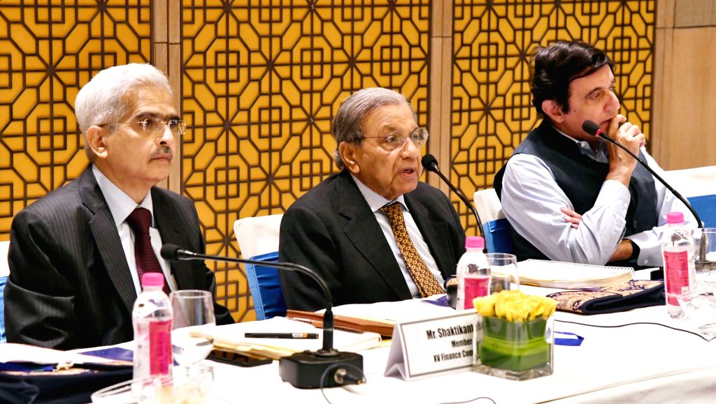 15th Finance Commission Chairman N.K. Singh along with the members, holds a Conference on 'International Experience in Fiscal Transfers', in New Delhi on July 30, 2018. - K. Singh