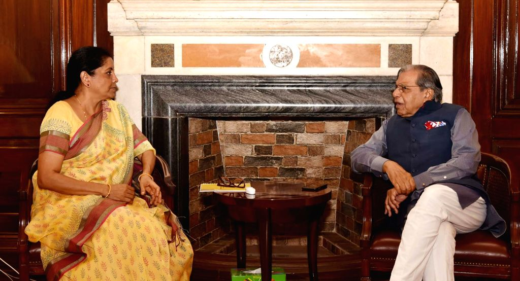 15th Finance Commission Chairman N.K. Singh meets the Union Finance and Corporate Affairs Minister Nirmala Sitharaman, in New Delhi on June 6, 2019. - Nirmala Sitharaman and K. Singh