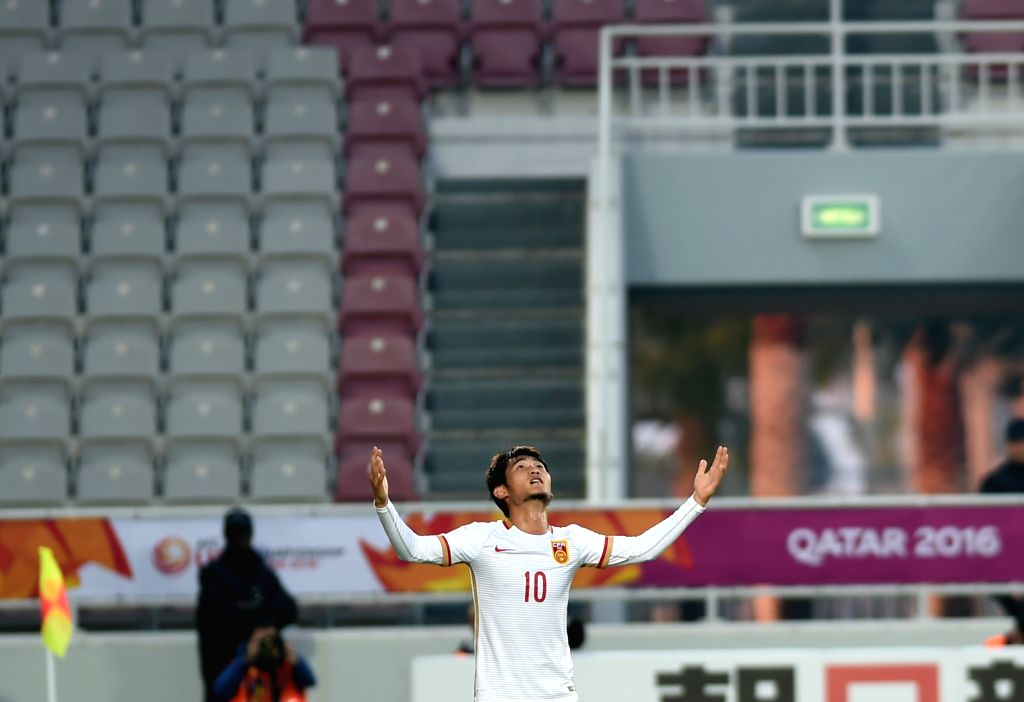 Chinese player Liao Lisheng celebrates his goal during the AFC U23 Championship Group A match against Syria in Doha, Qatar, on Jan. 15, 2016. (Xinhua/He ...