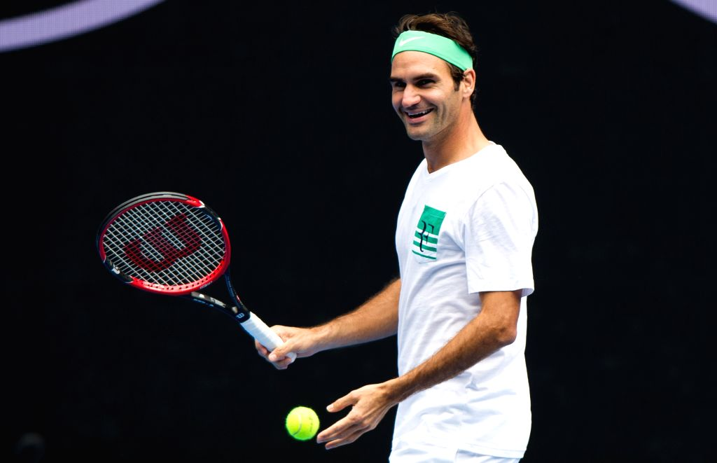 Roger Federer of Switzerland plays a training session ahead of Australian Open 2016 at Melbourne Park in Melbourne, Australia, Jan. 15, 2016. ...