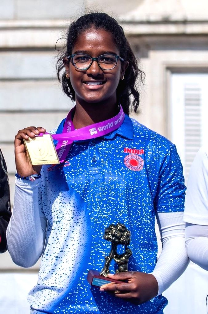 17-year-old Jharkhand girl Komalika Bari after defeating higher-ranked Sonoda Waka of Japan and clinching second gold on the final day of the World Archery Youth Championships in Madrid, ...