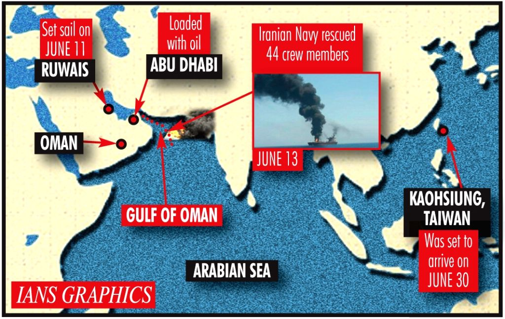 2 oil tankers hit in Gulf of Oman, all crew evacuated.