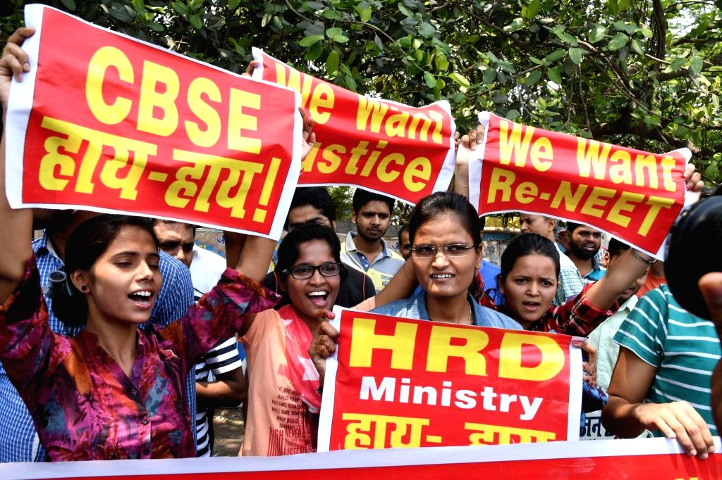 2017 NEET candidates stage a demonstration to press for re-exam in Patna, on May 12, 2017.