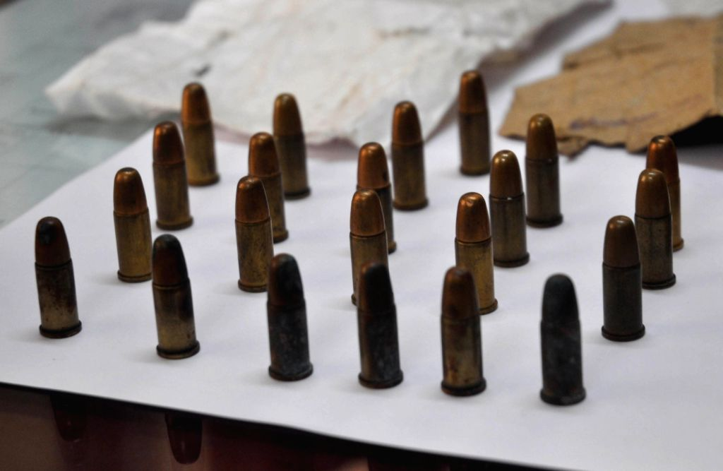 22 bullets found in a local train during cleaning at Jogeshwari yard in Mumbai on August 16, 2013. (Photo::: IANS)