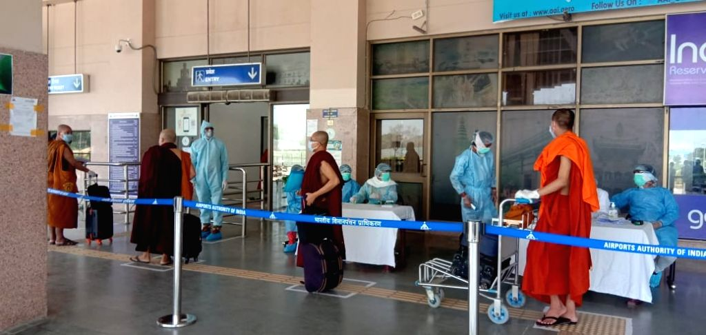258 Buddhist tourists leave for home country through special aircraft of Myanmar Airways.