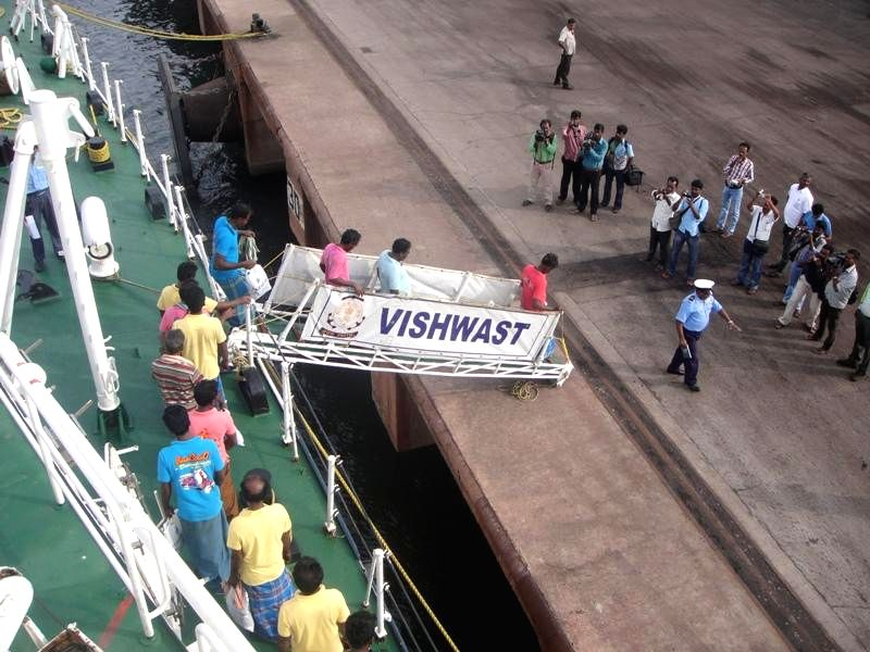 26 Indian fishermen who were captured by Sri Lankan Coast Guards return back to India aboard Vishwast after Indian Coast Guards came to their rescue, at Pudukkottai of Tamil Nadu on June 27, 2014.
