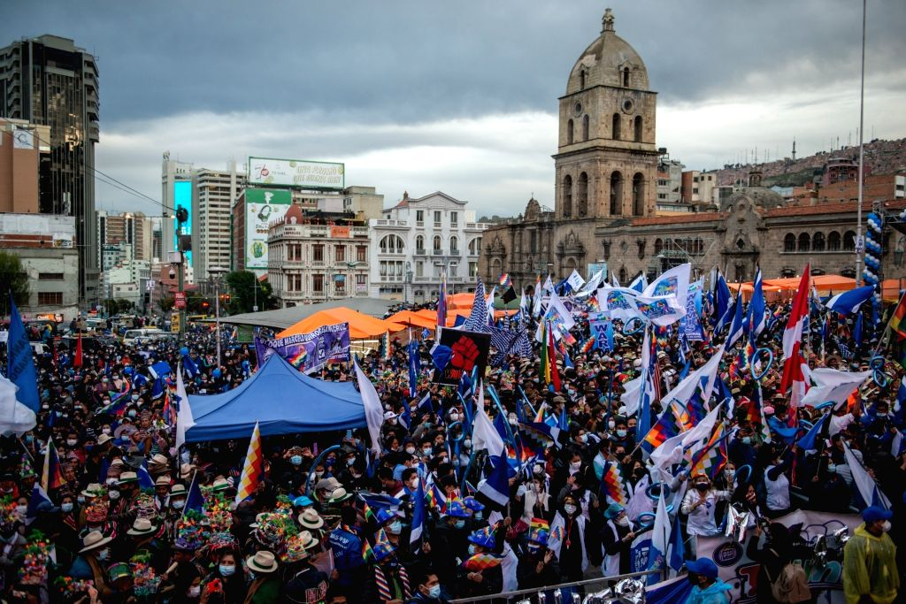 29 March 2021, Bolivia, La Paz: Supporters participate in the 26th anniversary of the foundation of the governing party MAS (Movimiento al Socialismo - Movement for Socialism). Radoslaw ...