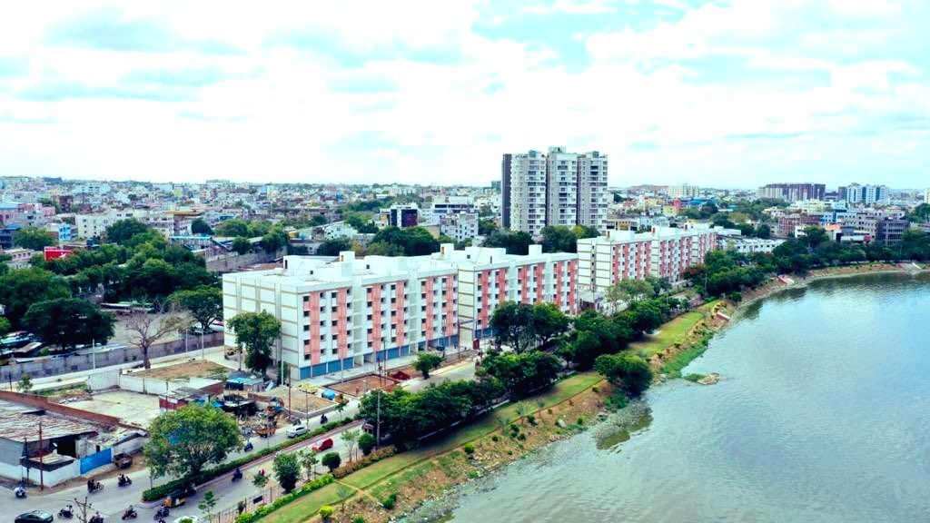 2BHK houses for poor come up in Hyderabad with lake view
