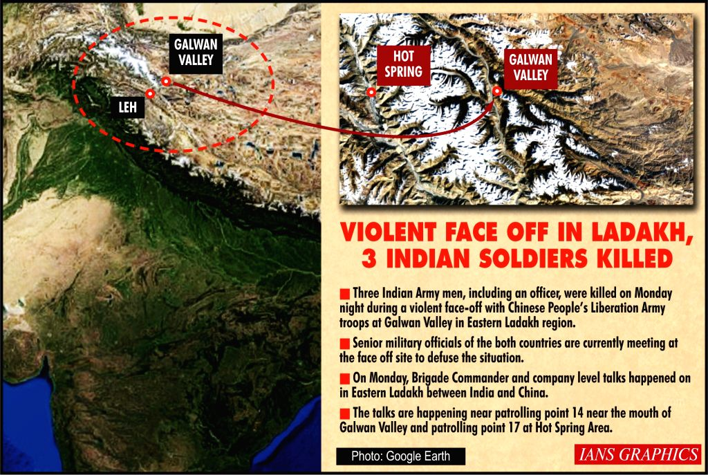 3 Indian Army men killed during face-off with Chinese soldiers. (IANS Infographics)
