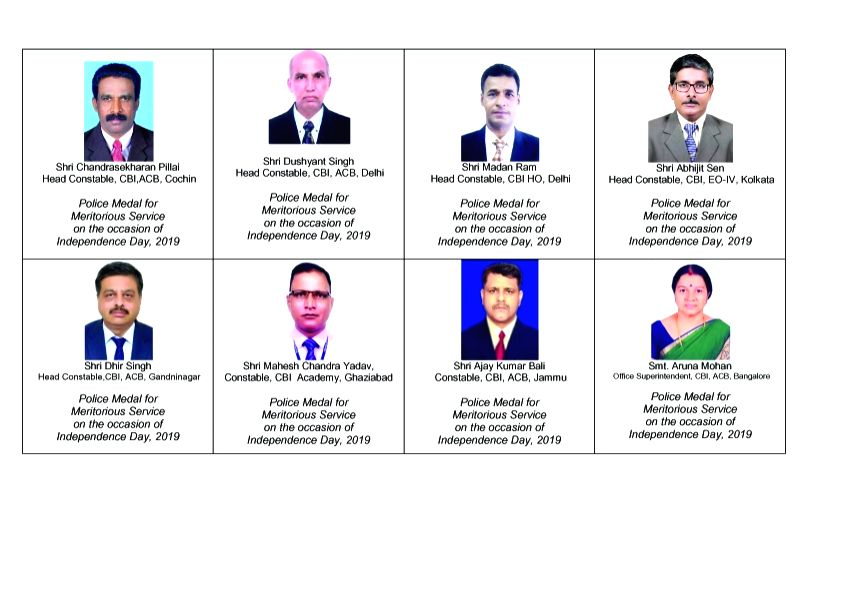 32 distinguished and meritorious service medals to officers and officials of CBI on the occasion of Independence Day, 2019,