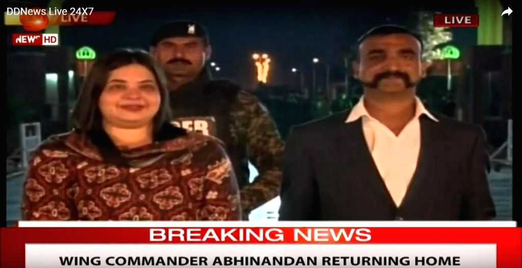 35-year-old IAF Wing Commander Abhinandan Varthaman, who was handed over to Indian High Commission officials at Pakistan's Wagah border, waits for paper works to be completed before entering ...