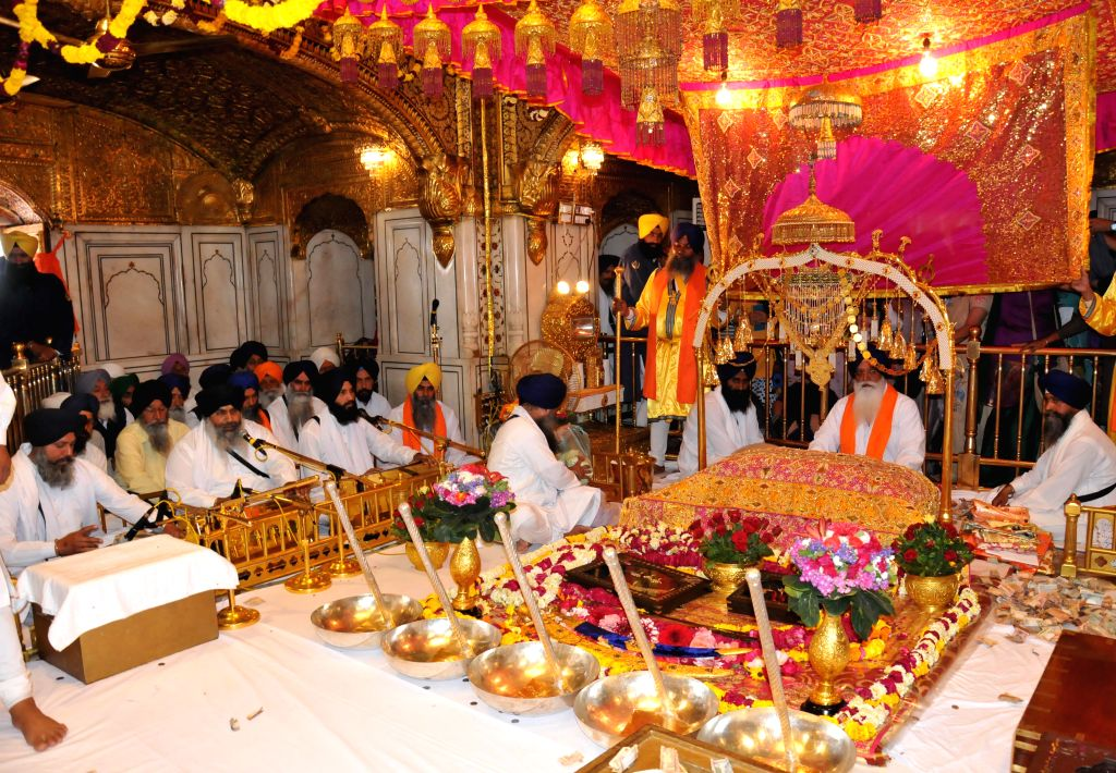 393rd birth anniversary of the ninth Sikh Guru Teg Bahadur being celebrated at the Golden Temple in Amritsar on April 18, 2014.
