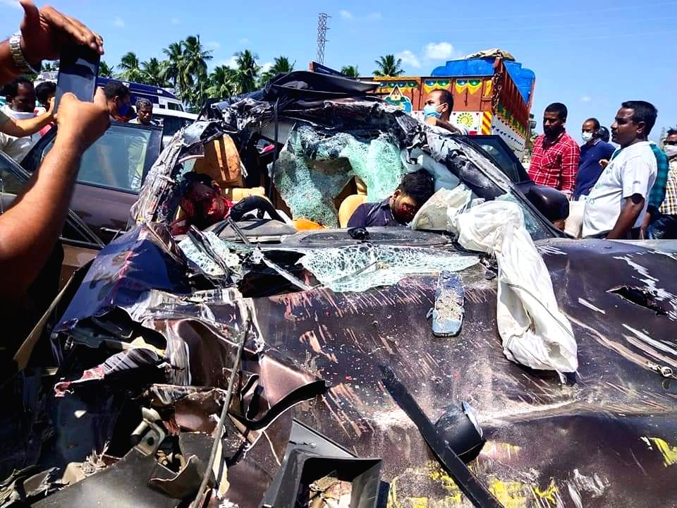 4 members of a family killed in a car accident which happened on their way back to Nellore from Bengaluru, in Nellore on August 30,2020.