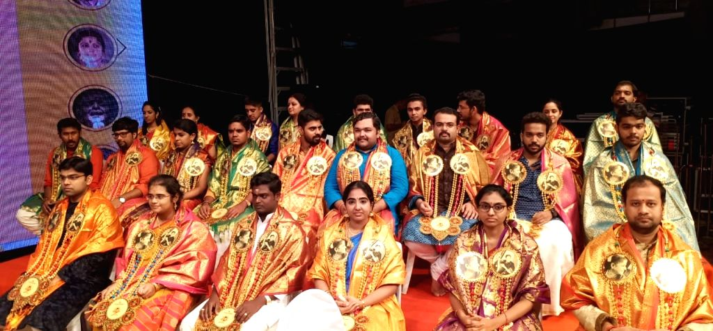50 young musicians from all over India who were felicitated with 3-year Fellowships of Rs.100,000 each during a programme organised by Sri Shanmukhananda Sabha to mark the 103rd birth ...